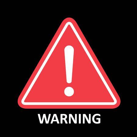 Hazard warning symbol vector icon flat sign symbol with exclamation mark isolated on black background .