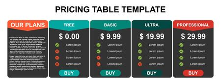 Pricing table, plan  list, or comparison template vector. Business presentation, infographic, website element, hosting plan .