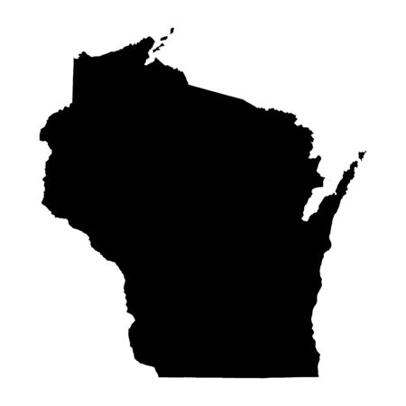 Wisconsin State vector map high detailed silhouette isolated on white background .