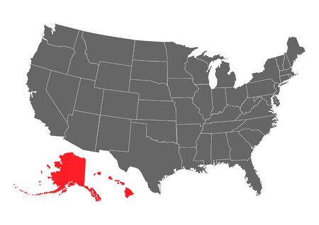 Alaska map, state of USA. Solid silhouette map of country area. Simple flat vector illustration .