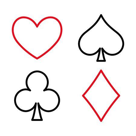 Poker flat icon card suites game and sign symbol logo illustration design .