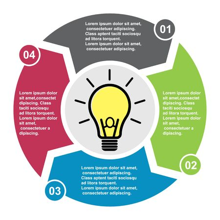 4 step vector element in four colors with labels, infographic diagram. Business concept of 4 steps or options with new light bulb . Ilustração