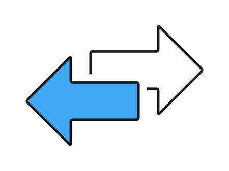 Scambia icona trasferimento freccia, logo. Vettore isolato su sfondo bianco. Logo