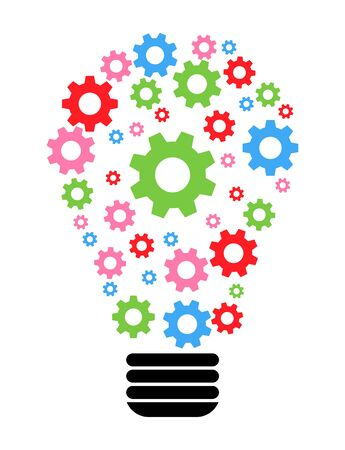 Lightbulb gears icon settings , for mobile applications web sites etc. Vector illustration . Фото со стока - 132118568
