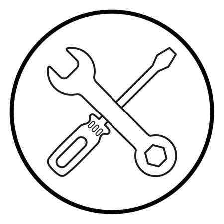 Screwdriver and wrench icon in flat style isolated on white background. Fix symbol for your web site design, logo, app, UI etc . Foto de archivo - 132118570