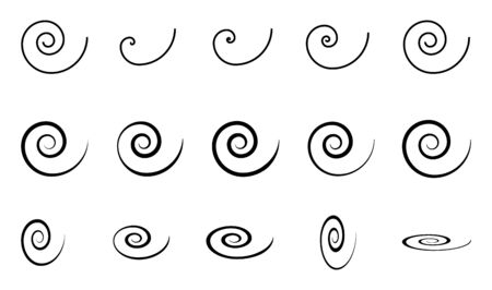Spiral set icon isolated on white background. Black modern shape, vector illustration .