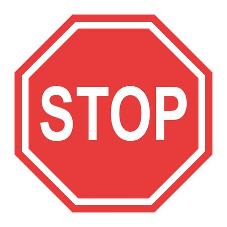 Stop sign, icon STOP vector. Red color singe symbol illustration .