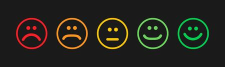 Set of flat emoticons islolated on white background. Happy or angry emotion ,