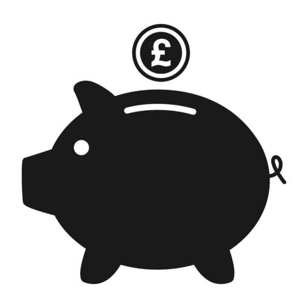 Piggy bank flat icon vector with pound symbol. Money income .