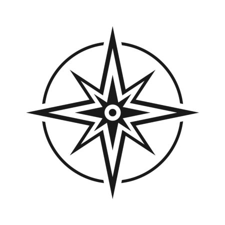 Modern flat icon compass without north, south, east and west symbol isolated on white background . Ilustracja