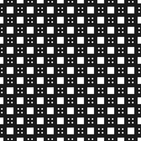 Modern four dot and cube seamless pattern isolated on black background .