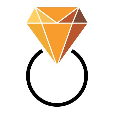 Diamond ring flat icon  vector. Web symbol. Perfect color pictogram illustration on white background . Иллюстрация