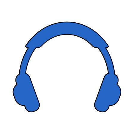 Modern flat headphone icon isolated on white backgound. Vector illustration.