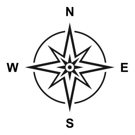 Modern flat icon compass with north, south, east and west symbol isolated on white background .