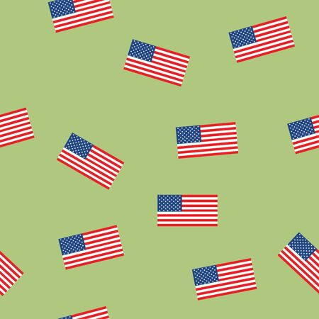 USA flag seamless patern isolated on green background. American sign vector design . Ilustracja