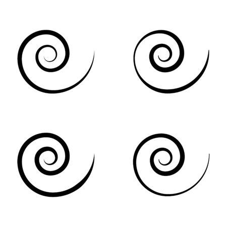 Spiral set icon isolated on white background. Black modern shape, vector illustration .