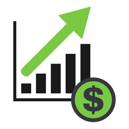 Growing economic symbol, flat modern icon, isolated on white background . Ilustracja