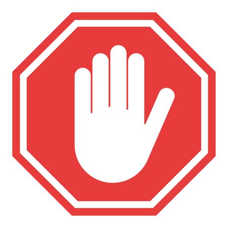 Stop sign, icon hand vector. Red color singe symbol illustration . Ilustracja
