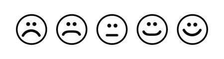 Set of flat emoticons islolated on white background. Happy or angry emotion ,