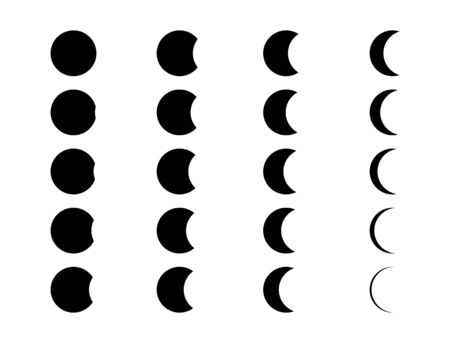 Moon icon phases of set. Crescent black sign isolated on white background .