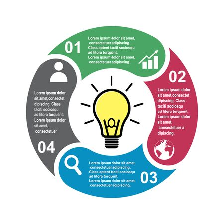4 step vector element in four colors with labels, infographic diagram. Business concept of 4 steps or options with light bulb .