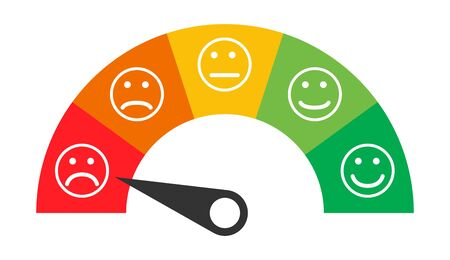 Customer icon emotions satisfaction meter with different symbol on white background .