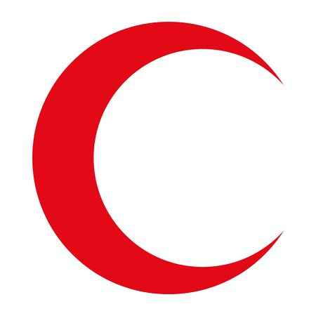 Crescent icon, flag flat symbol isolated on white background. Moon vector .  イラスト・ベクター素材