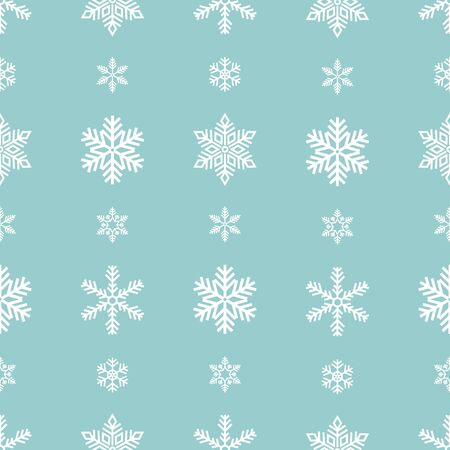 Snowflake holiday decoration, seamless pattern. Snow flat sign isloated on green background .