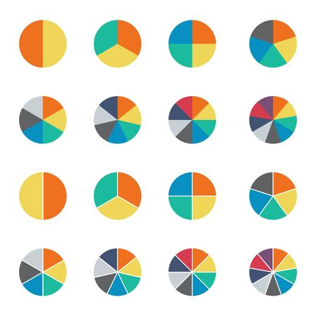Infographic pie chart set. Cycle collection - 2,3,4,5,6,7 and 8 section. Vector isolated on white background . Reklamní fotografie - 133480253