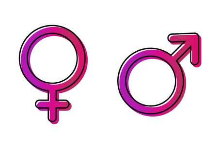Male and female icon, symbol set. Website design vector illustration isolated on white background . Standard-Bild - 133480251