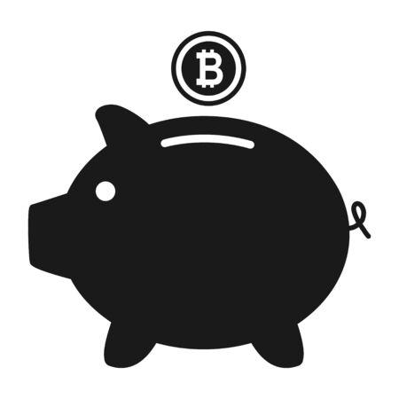 Piggy bank flat icon vector with bitcoin symbol. Money income . Reklamní fotografie - 133480262