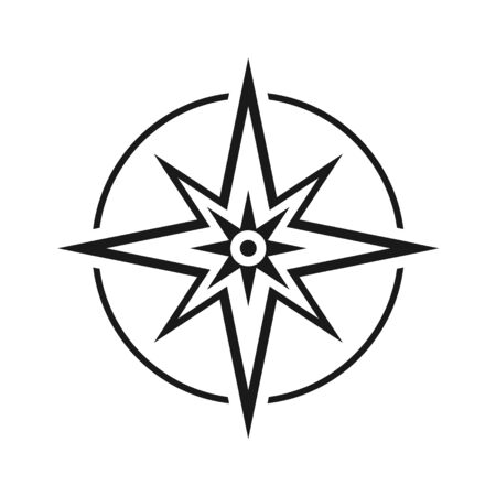 Modern flat icon compass without north, south, east and west symbol isolated on white background .  イラスト・ベクター素材