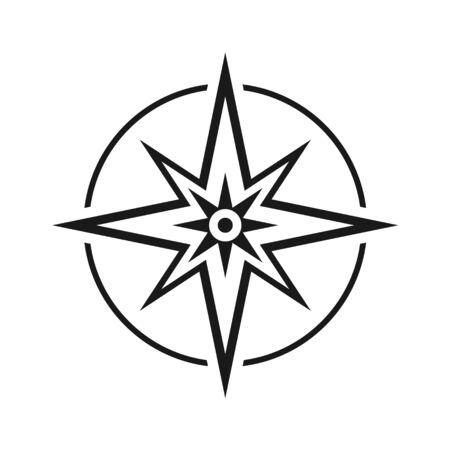 Moderner flacher Symbolkompass ohne Nord-, Süd-, Ost- und Westsymbol isoliert auf weißem Hintergrund. Vektorgrafik