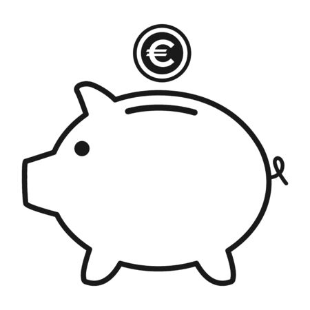 Piggy bank flat icon vector with euro symbol. Money income .