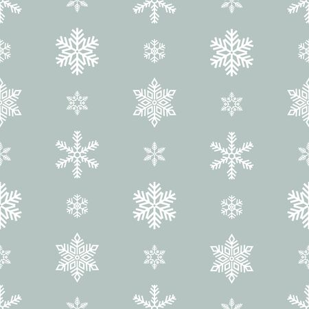 Snowflake holiday decoration, seamless pattern. Snow flat sign isloated on grey background .