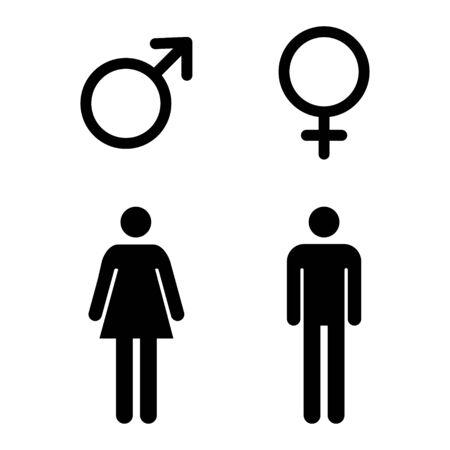 Icona maschile e femminile, set di simboli. Illustrazione di vettore di progettazione del sito Web isolata su priorità bassa bianca. Vettoriali