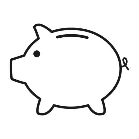 Vector de icono plano de alcancía sin símbolo. Ingresos monetarios. Ilustración de vector