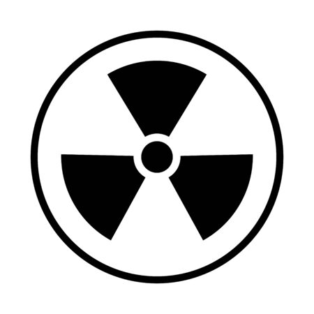 Radiation toxic symbol isolated on white background. Flat warning sign . Stock Illustratie