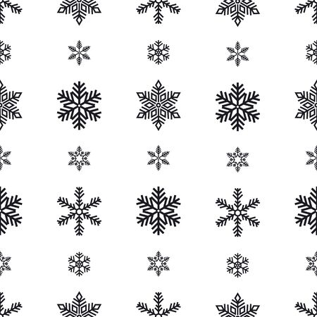 Snowflake holiday decoration, seamless pattern. Snow flat sign isloated on white background .
