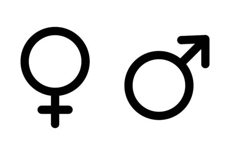 Male and female icon, symbol set. Website design vector illustration isolated on white background .