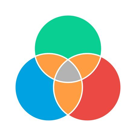 Venn diagram maths vector, Negative space, color modern icon - isolated on white background . Ilustrace