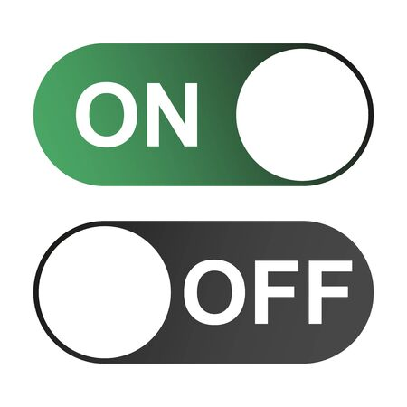 On and Off switch color buttons isolated on white background for app, ui etc . Çizim