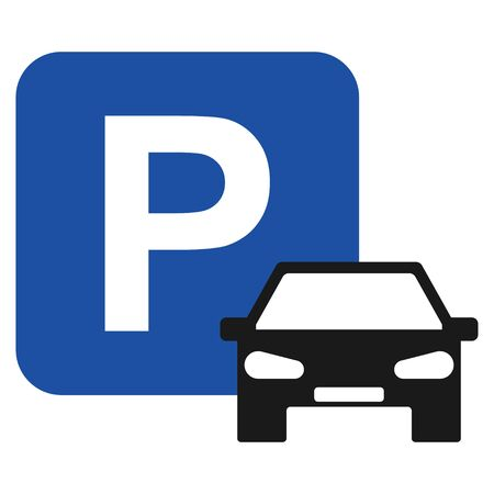 Parking icon with car graphic design isolated on white background. Vector illustration . Ilustrace