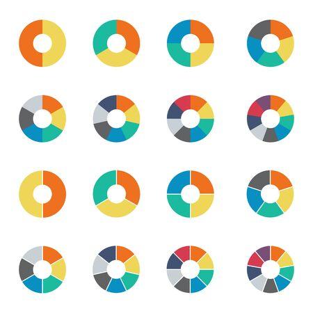 Set di grafici a torta infografica. Collezione ciclo - sezione 2,3,4,5,6,7 e 8. Vettore isolato su sfondo bianco.