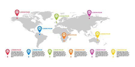 Modern infographic tempalte with world map icon. Point location for website . Reklamní fotografie - 137486710