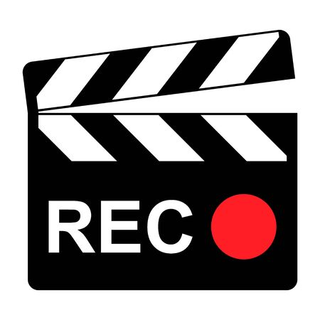Clapper board icon on white background. Vector flat film video illustration .
