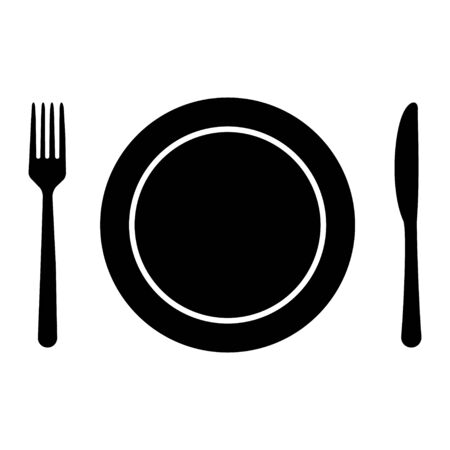 Fork,knife, and plate icon isolated on white background. Trendy tool design style . Reklamní fotografie - 137884339