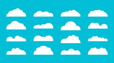 Set of diffenrent cloud icons in flat design isolated on blue background. Cloud symbol for your web etc .