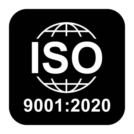 Iso 9001:2020 icon. Standard quality symbol. Vector button isolated on black background . Reklamní fotografie - 137884354