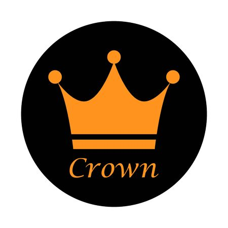 Crown flat vector icon isolated on white background. King sign illustration object . Çizim